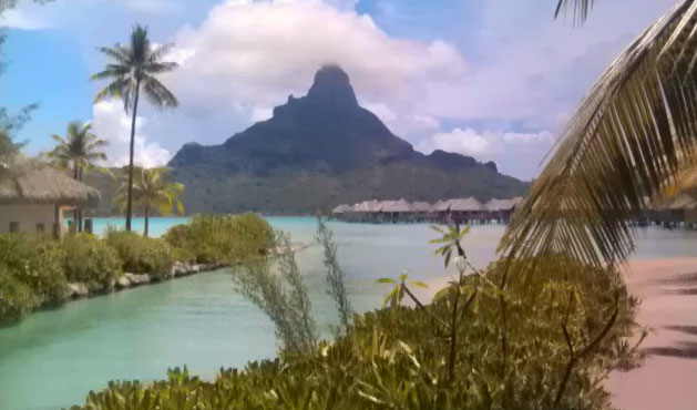 View of Mount Otemanu from the InterContinental Bora Bora Resort & Thalasso Spa