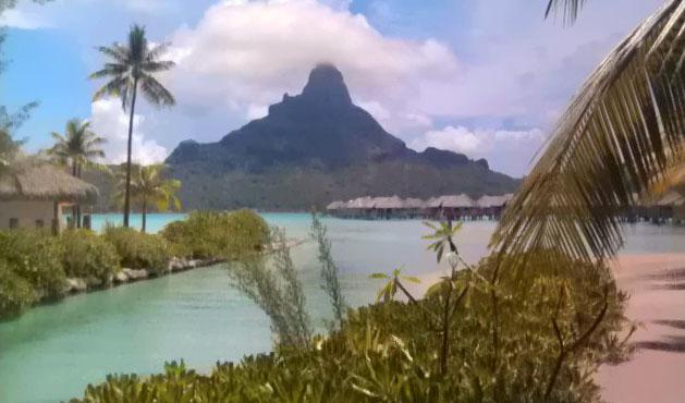 View of Mount Otemanu from the InterContinental Bora Bora Resort & Thalasso Spa
