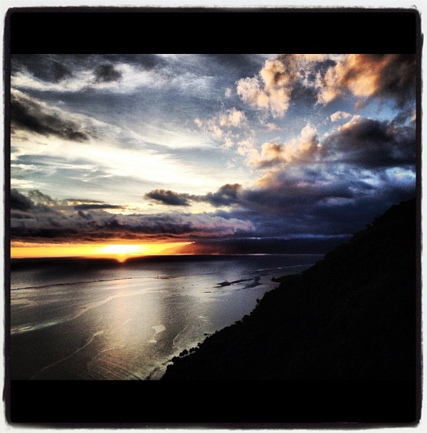 Kelly Slater's Sunset Instagram Picture in Tahiti