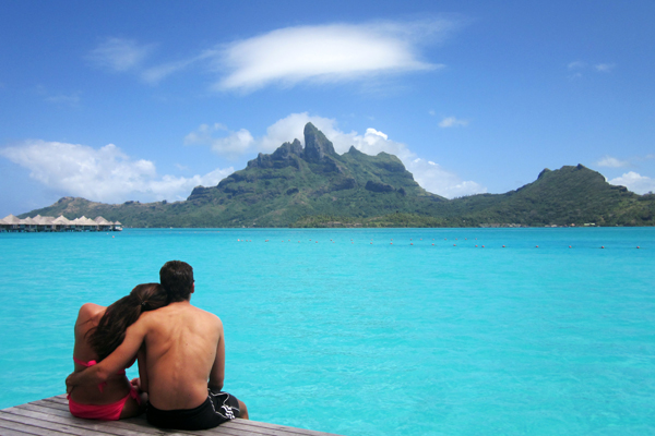 Our clients, Dan and Valentina, in Bora Bora for their honeymoon.