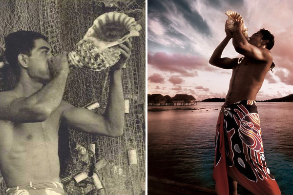 Tahitian with Conch Shell, Past and Present