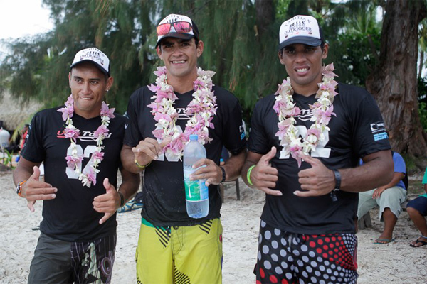 Steeve Teihotaata (center) wins the 2012 IronMana, Photo: Wim Lippens