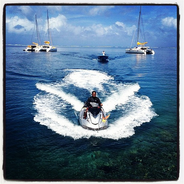@sally_fitz: Our floating @roxy city in Tahiti with the legendary @RaimanaWorld leading the way!