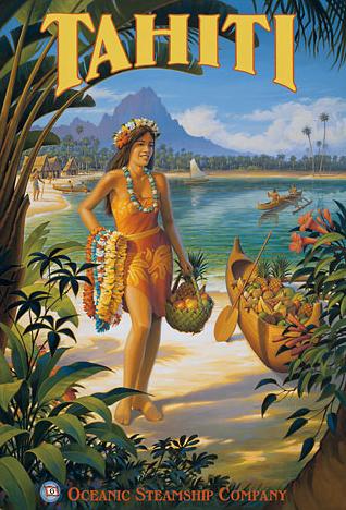 Oceanic Steamship Tahiti Poster