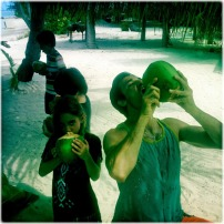 """Drinking the Coco for Easter Sunday in #BoraBora with the family!"""